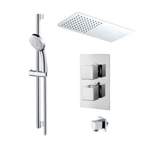 Abacus Emotion Thermostatic Square Concealed Shower Mixer Rectangular Head Round Handset - Chrome